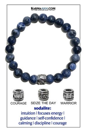 Yoga bracelets. Warrior Courage Seize the day Jewelry mens wristband jewelry. sodalite..