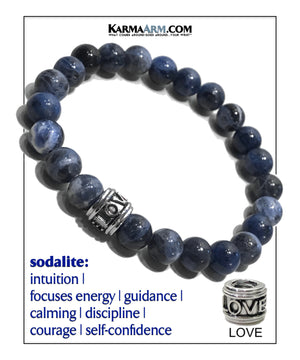 Yoga bracelets. Love Jewelry mens wristband jewelry. Sodalite.