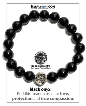 Yoga bracelets. Meditation self-care wellness mens bead wristband jewelry. 10mm black onyx Om mani padme hum. copy 4