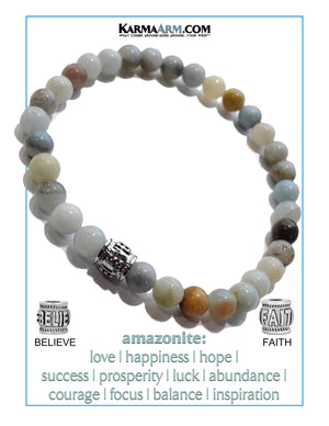 Yoga bracelets. Meditation self-care wellness mens bead wristband jewelry. Amazonite.