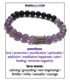 Yoga bracelets. Meditation self-care wellness mens bead wristband jewelry. Amethyst Lava. copy