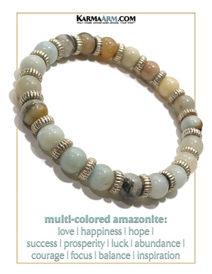 Yoga Bead Bracelets. Meditation Mens Jewelry. Multi Colored Amazonite. Vista.