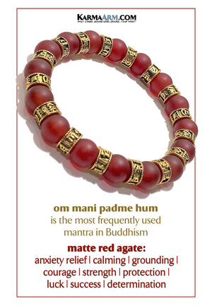 Yoga bracelets. Meditation self-care wellness mens bead wristband jewelry. Om Mani Padme Hum. 10mm Red Agate.   copy