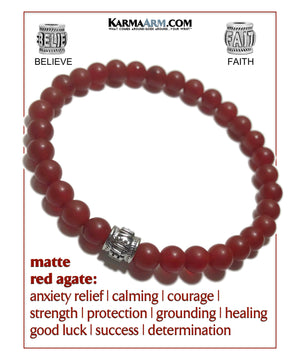 Yoga bracelets. Meditation self-care wellness mens bead wristband jewelry. Red Agate.