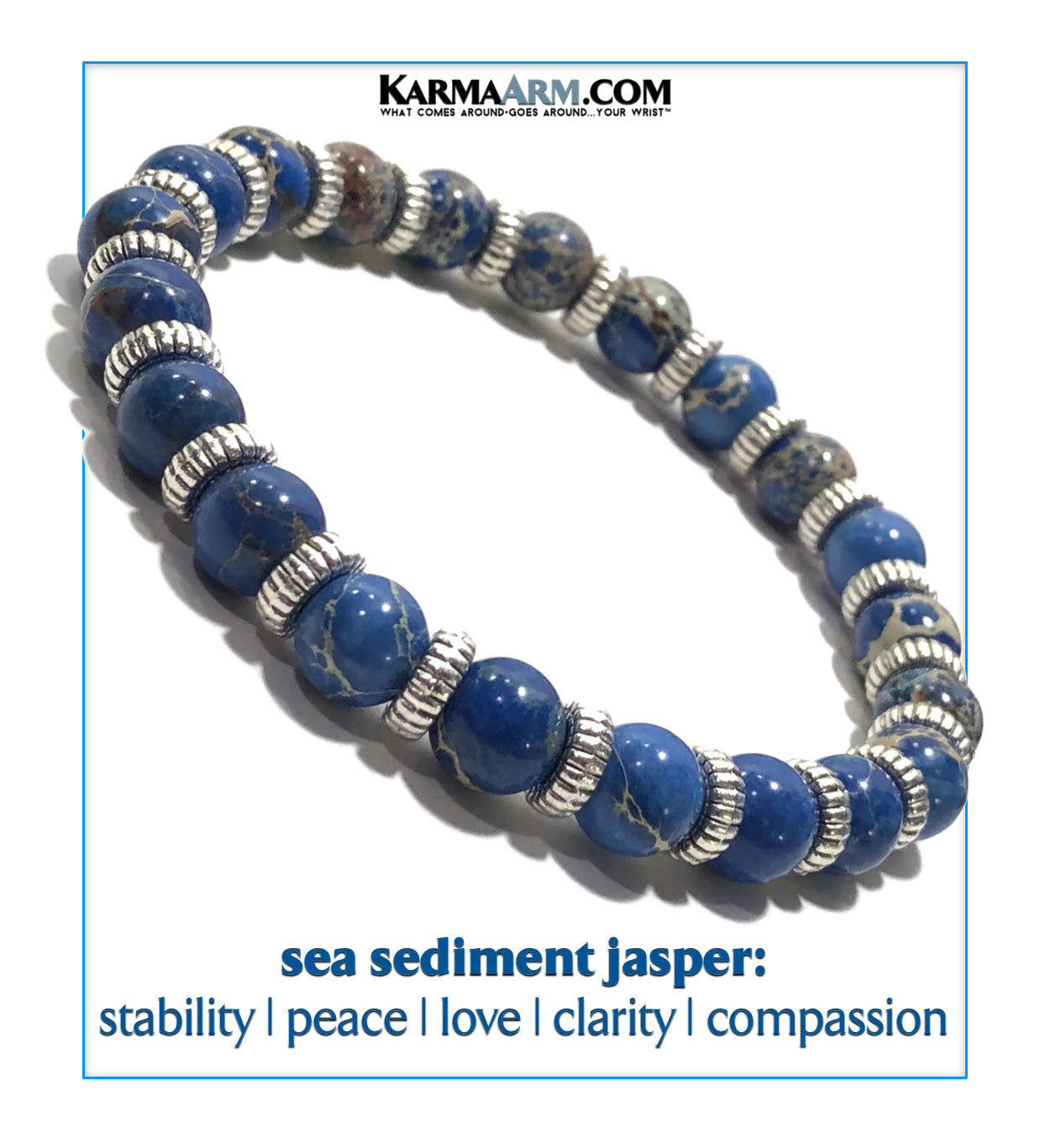 Reiki Healing Energy Wellness Self-Care Meditation Jewelry KarmaArm Love Bracelet Intimacy : India Agate Mantra Bead Chakra Yoga Jewelry Beaded Stretch Wristband Bracelet