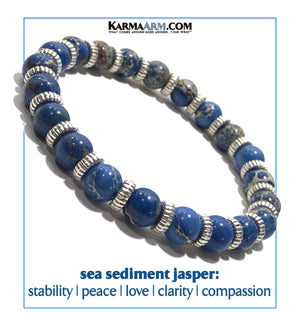 Yoga bracelets. Meditation self-care wellness mens bead wristband jewelry. Sea Sediment Jasper.