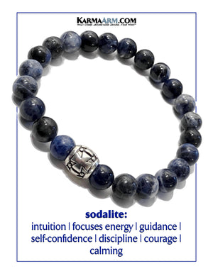 Yoga bracelets. Meditation self-care wellness mens bead wristband jewelry. Sodalite Gothic Cross.