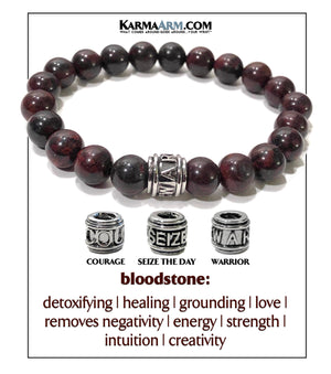 Yoga bracelets. Warrior Courage Seize the day Jewelry mens wristband jewelry. .Bloodstone. copy 2