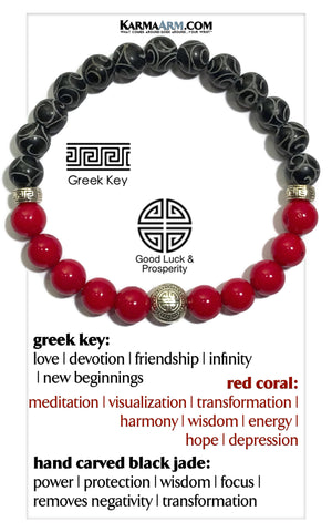 Yoga bracelets. mens wristband Meditation jewelry. Red Coral.