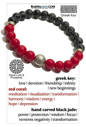 Greek Key Yoga bracelets. mens wristband Meditation jewelry. Red Coral.