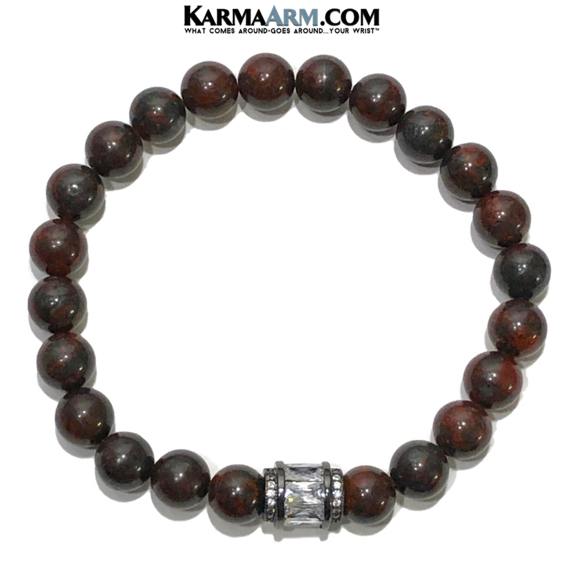 Yoga bracelets. mens wristband jewelry. Bloodstone.