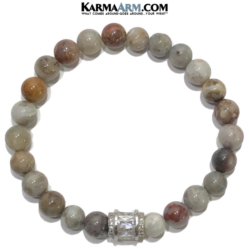 Meditation Yoga bracelets. mens wristband jewelry. bamboo leaf agate.