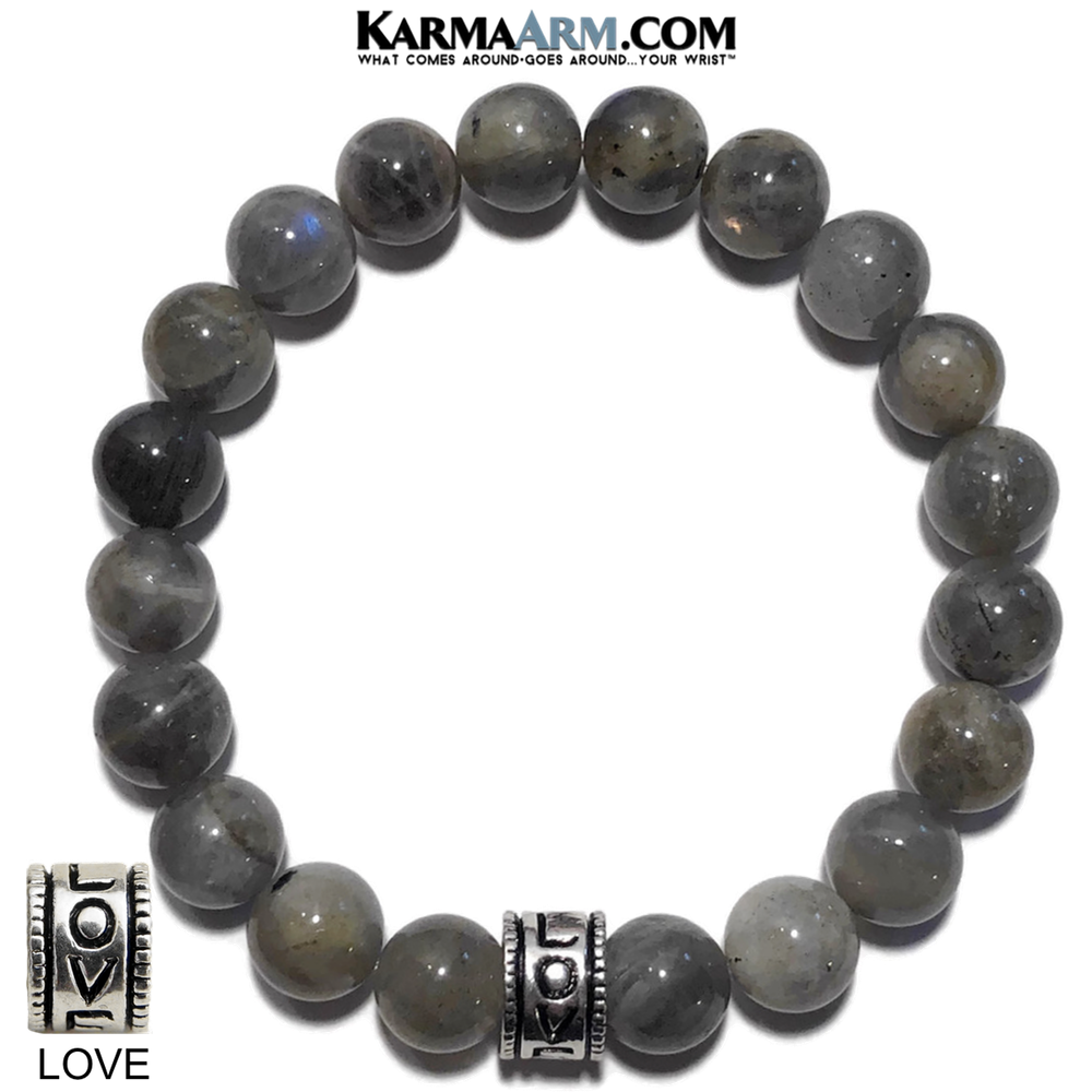 Yoga love Bracelets. Zen Meditation Zen Bead Jewelry. Labradorite 10mm.