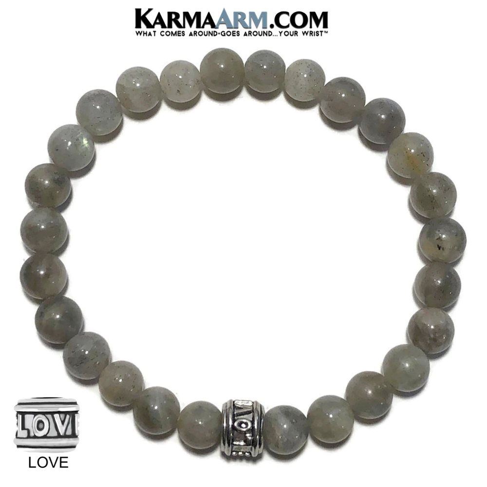 Yoga love Bracelets. Zen Meditation Zen Bead Jewelry. Labradorite 6mm.