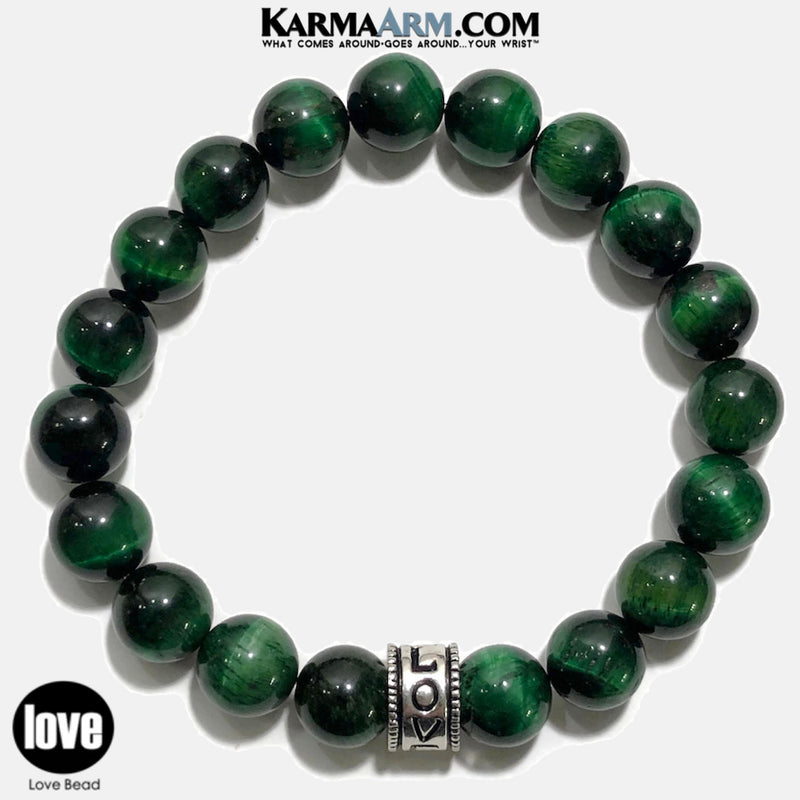 Yoga beaded love Bracelets. Love Meditation Zen jewelry. green tiger eye.