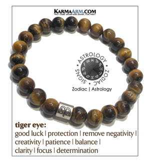 Zodiac Horoscope Astrology Meditation Mantra Yoga Bracelets. Mens Wristband Self-care wellness Jewelry. Tiger Eye.