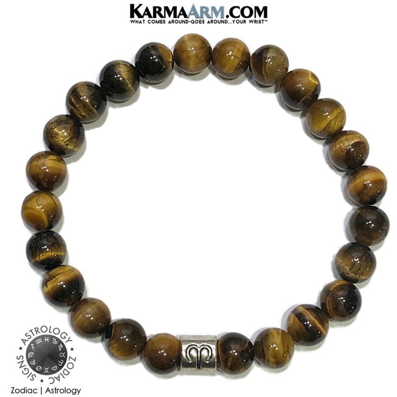 Zodiac Horoscope Astrology Meditation Self-care wellness Mantra Yoga Bracelets. Mens Wristband Jewelry. Tiger Eye.