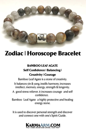 Zodiac Astrology Horoscope Bracelet. Beaded Bracelets. Reiki Healing. Meditation Jewelry. Mens bracelets. Yoga Jewelry. Bamboo Leaf Agate.