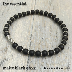 gemstone mala yoga bracelet - ESSENTIAL Collection: Black Onyx Yoga Mala Bead Bracelet - Karma Arm. - 3
