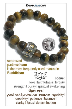 buddhist om mani padme hum Meditation Mantra Yoga Bracelets. Mens Self-care wellness Wristband Jewelry. Tiger Eye.