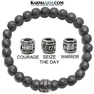 carpe diem Seize the day.Yoga Bracelets. self-Care Wellness beaded mens meditation wristband jewelry.  matte faceted hematite.