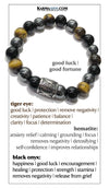 good luck symbol Meditation Yoga Bracelets. Mens Wristband Jewelry. Tiger Eye Onyx Hematite.