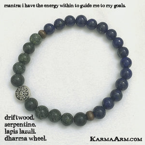 DHARMA WHEEL COLLECTION: Lapis • Serpentine Yoga Mala Bead Bracelet - Karma Arm