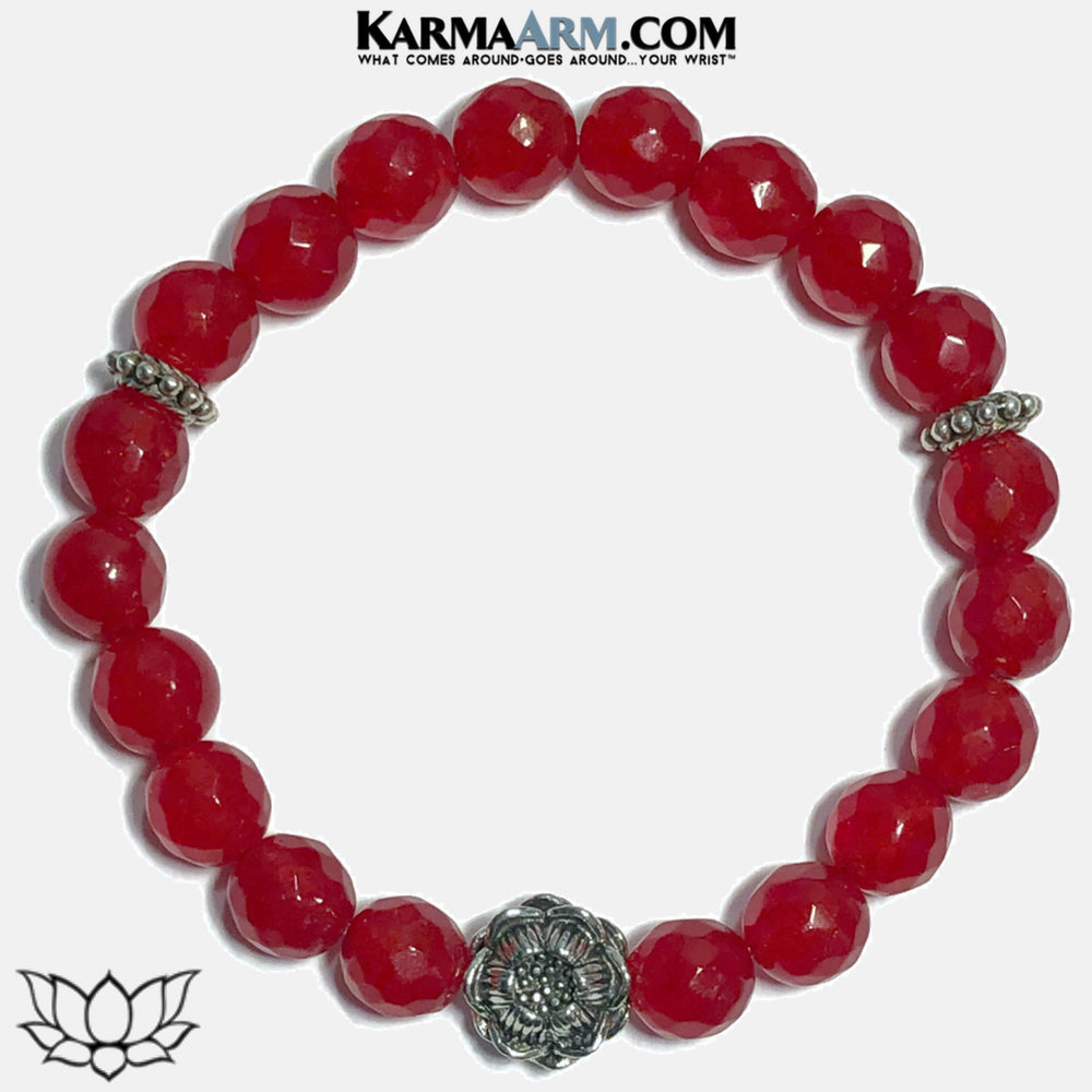 lotus Self-Care Meditation Mindfulness Yoga Bracelets. Wellness Wristband Jewelry. Red Jade. copy