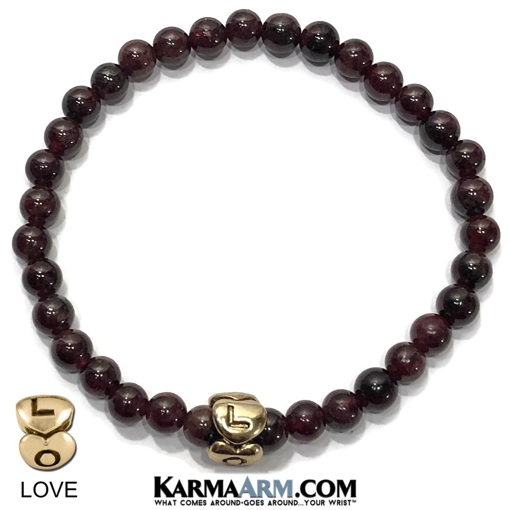 love bracelet. yoga bracelets. beaded chakra mantra stretch meditation reiki healing energy mens jewelry. garnet.