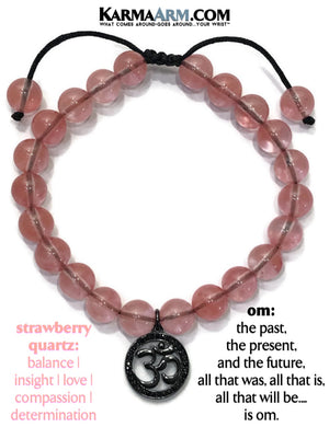 love bracelet. strawberry quartz OM yoga beaded chakra jewelry. mantra mens stretch meditation reiki healing energy bracelets.