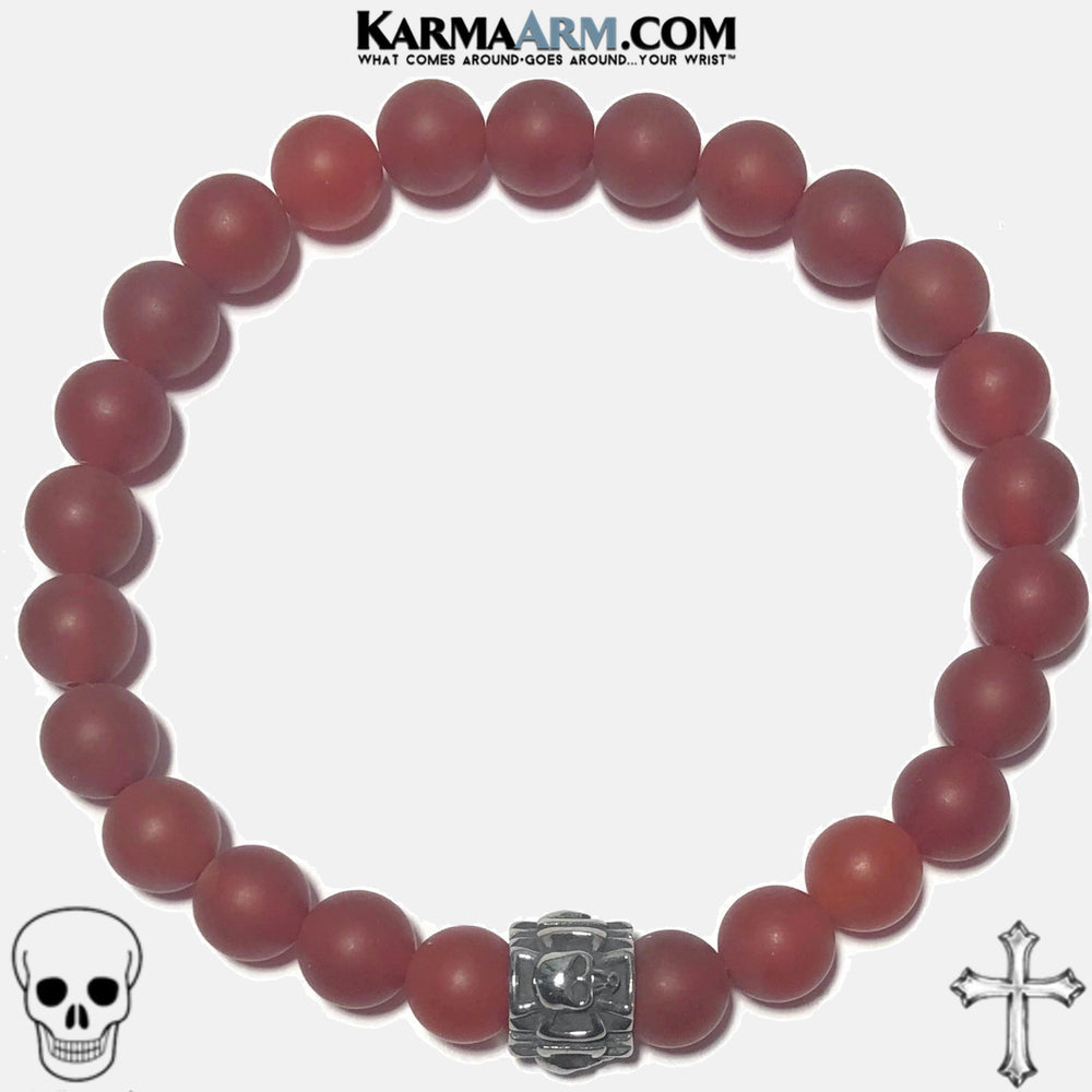 maltese cross skull Meditation Self-care wellness Mantra Yoga Bracelets. Mens Wristband Jewelry. Red Agate.
