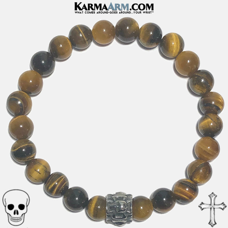 PROTECTION | Tiger Eye | Skull & Maltese Cross Bracelet
