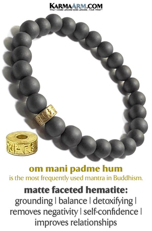 meditation Tibetan Buddhist Om Mani Padme Hum Yoga Bracelets. self-Care Wellness beaded wristband mens jewelry.  Matte Hematite.