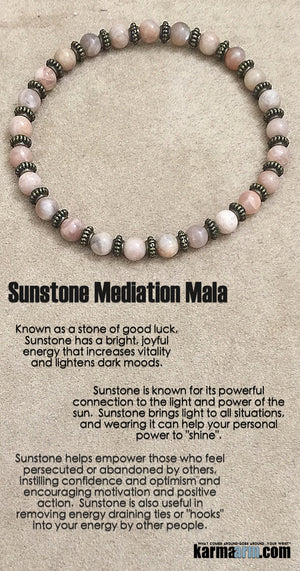 Beaded Bracelet. Yoga Chakra Mala Stretch Jewelry. Energy Healing Meditation. Sunstone.