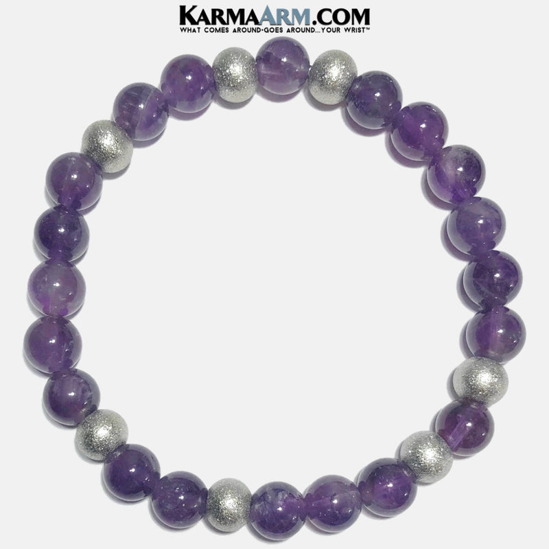 mens Textured Stainless Steel Meditation Mantra Yoga Bracelets. Mens Wristband Jewelry. Amethyst. copy