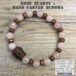 Yoga Bracelets Meditation Tibetan Buddhist Beaded Mala Men & Women. Rose Quartz Buddha.