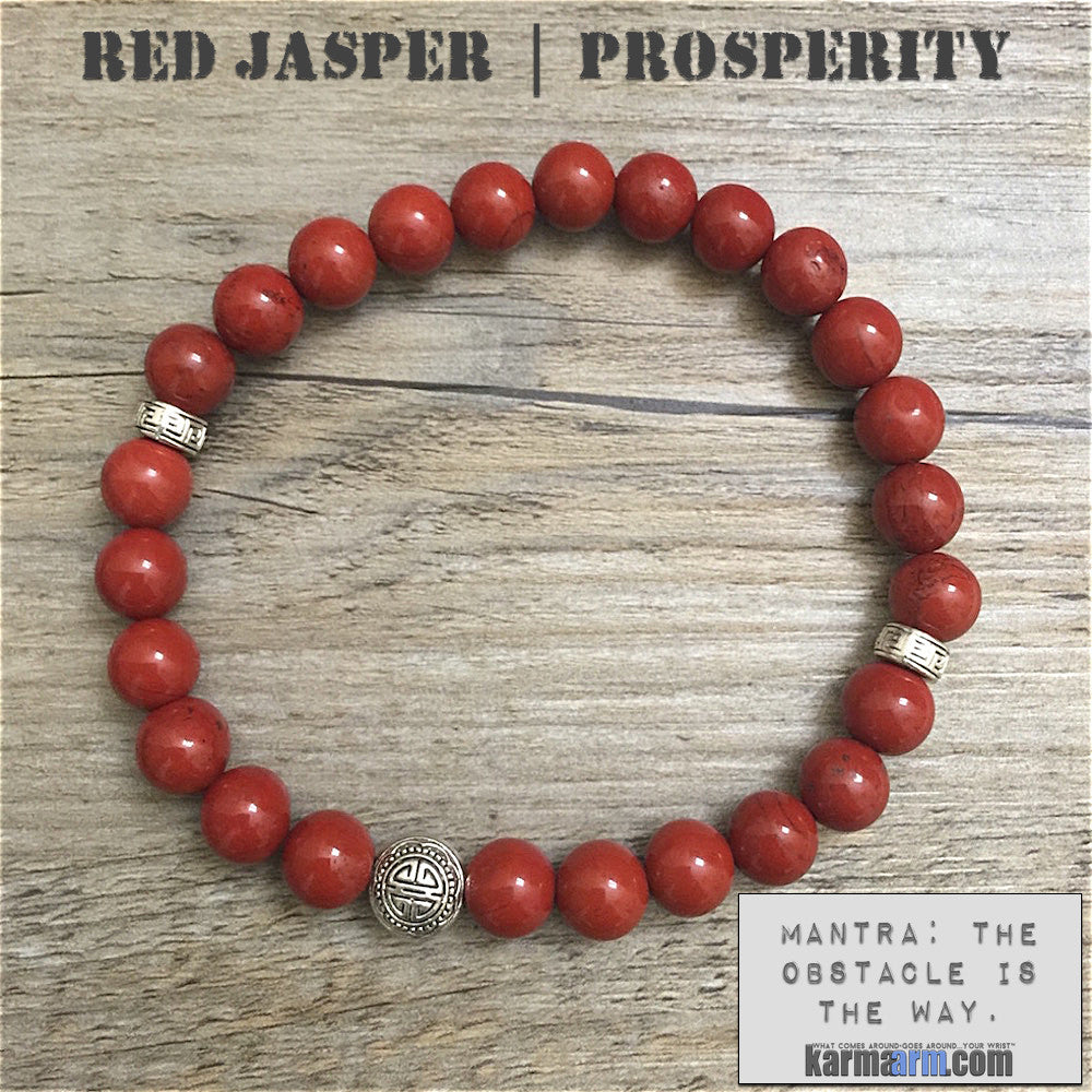 Mens yoga mala bracelet womens chakra meditation beaded charm stacks. Red Jasper Prosperity.