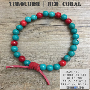 mens yoga mala bracelet womens chakra meditation beaded charm stacks. Turquoise red coral.