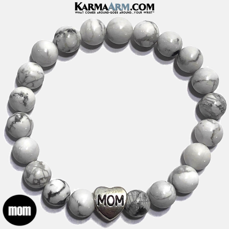 mom mothers day Yoga Bracelets. beaded meditation wristband jewelry. white turquoise.