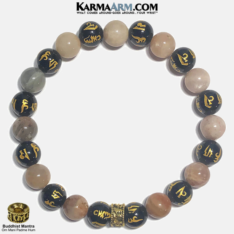 om mani padme hum Wellness Meditation Mens Bracelet. Self-Care Wristband Yoga Jewelry. Sunstone.