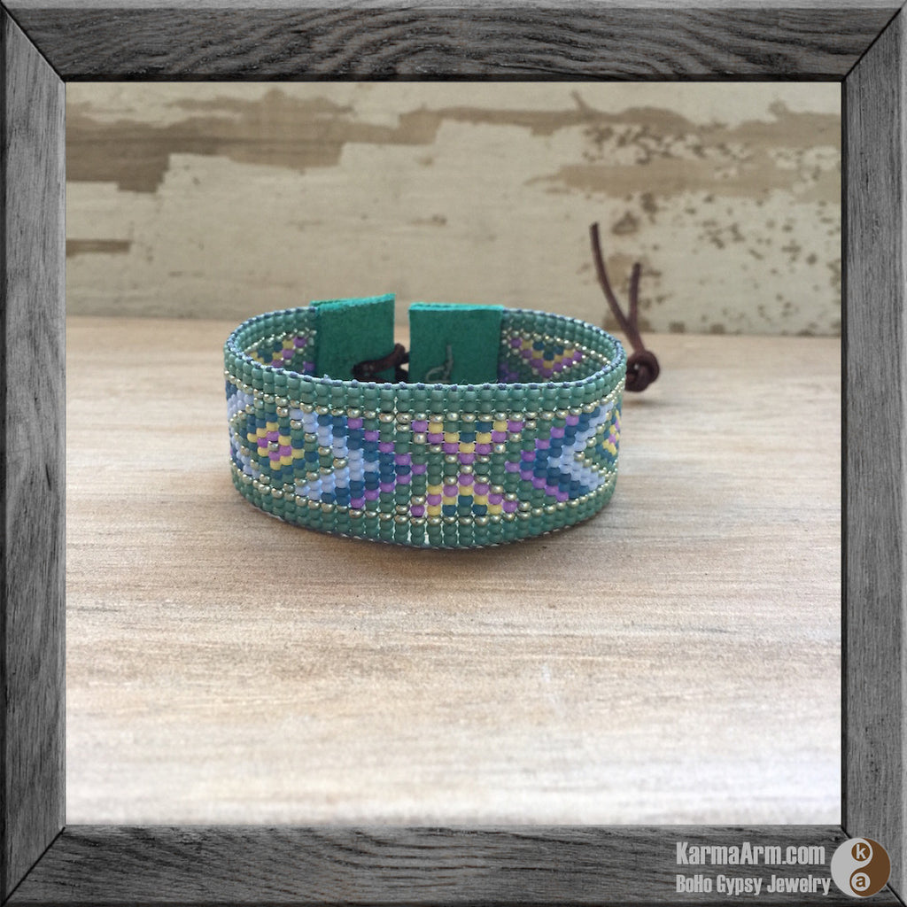 seed bead loom cuff bracelet - Seed Bead Wrap Cuff: Santa Monica Collection - Karma Arm. - 1