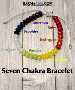 seven chakra jewelry. mantra mens stretch meditation reiki healing energy jewelry.