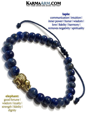 yoga beaded bracelet. lucky elephant lapis mantra mens stretch meditation reiki healing energy chakra jewelry.
