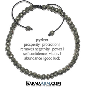 yoga beaded bracelet. pyrite mantra mens stretch meditation reiki healing energy chakra jewelry.