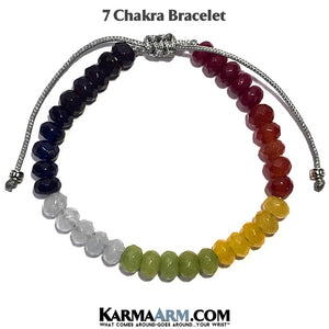 yoga beaded bracelet. seven chakra jewelry. mantra mens stretch meditation reiki healing energy jewelry.
