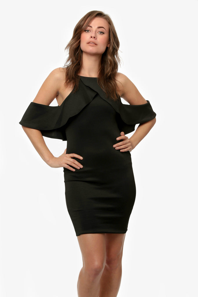 Could Shoulder Crepe Ruffle Dress Black
