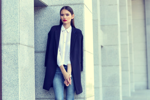 navy coat early spring trend