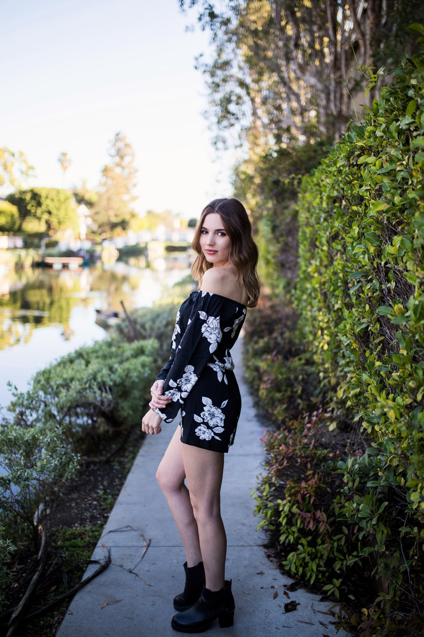 Night outfit for packing black and white floral romper