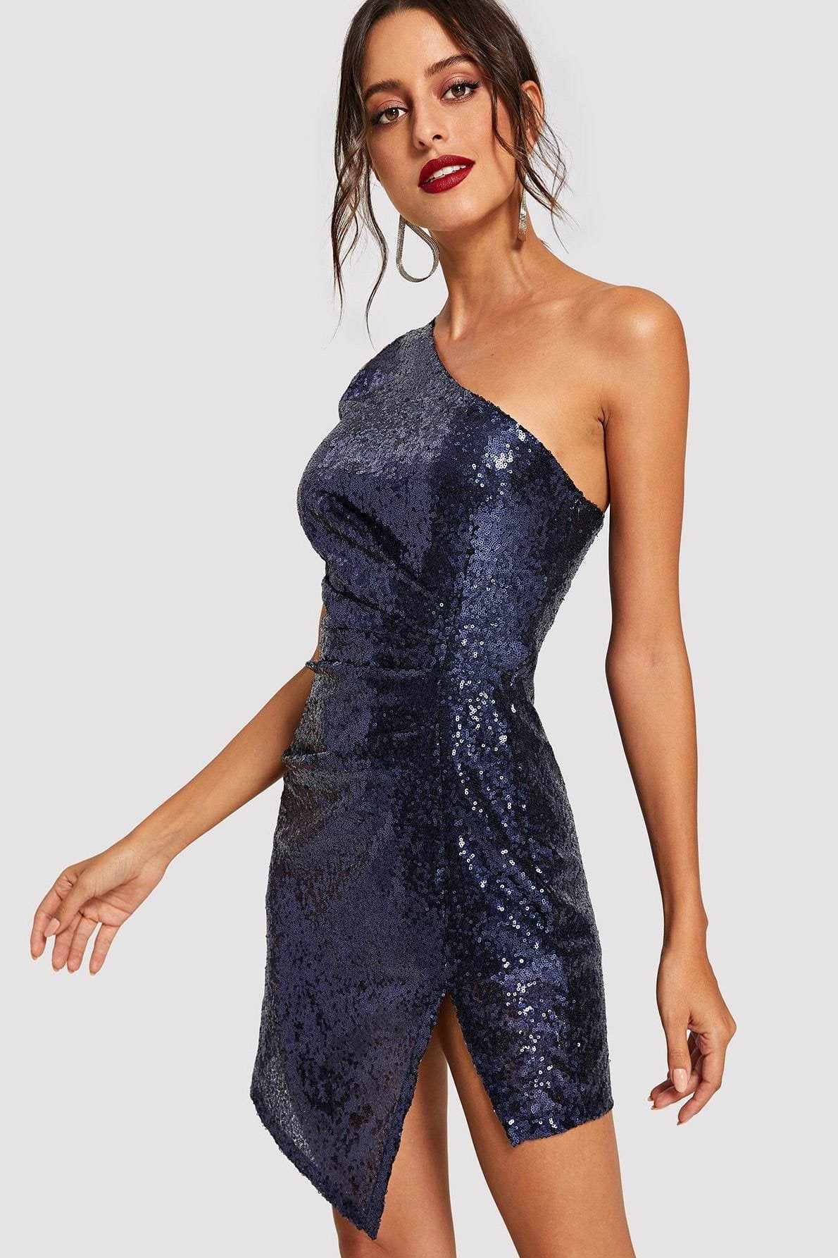 Women's New Years Eve Trousdale Blue Sequin Dress | Love Me Trender