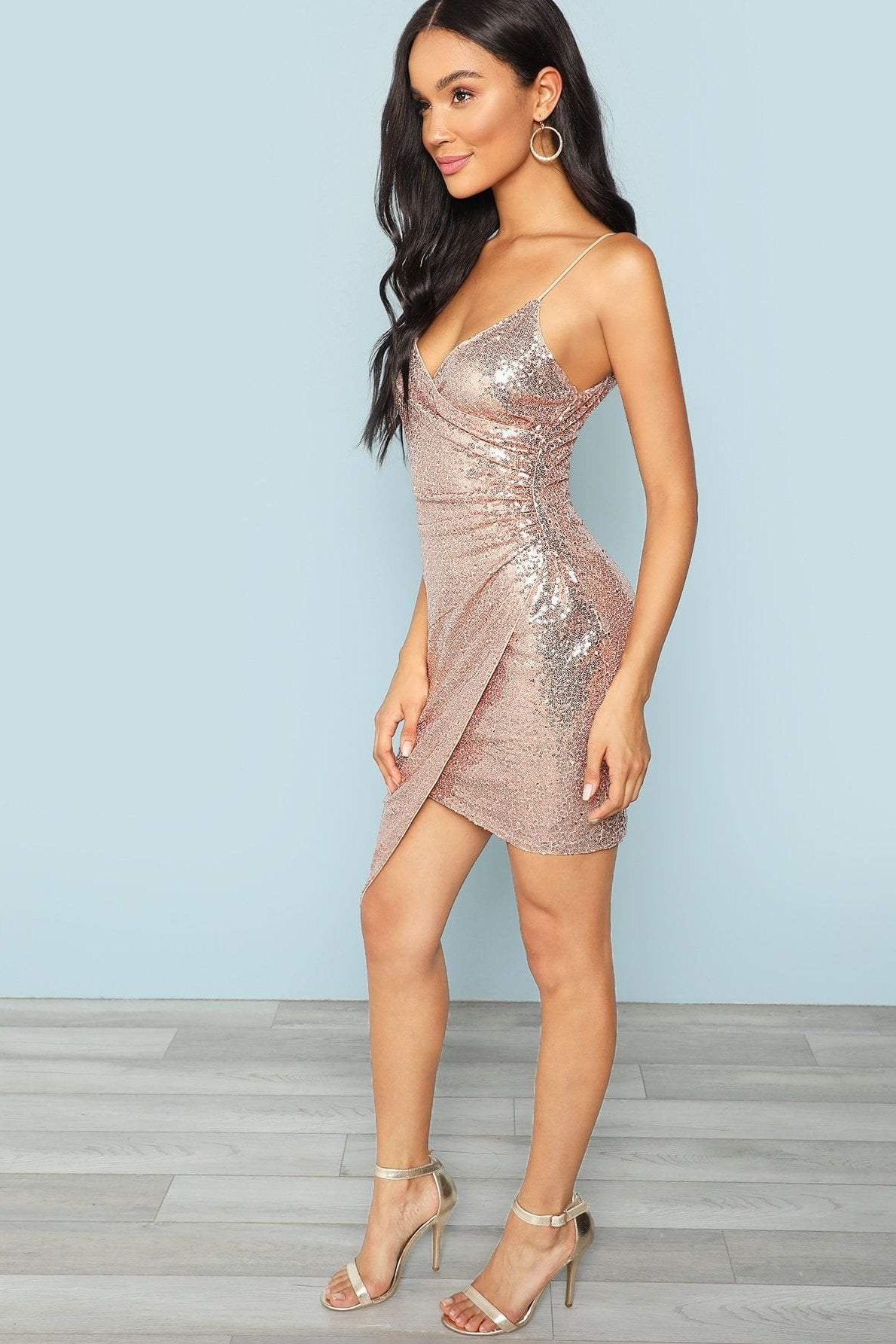 Women's Pink Irvine Wrap Sequin Cami Dress NYE | Love Me Trender